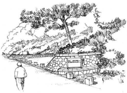croquis d'un projet d'aménagement paysager