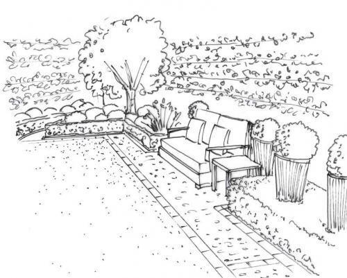 scan plan dessiné d'un paysage